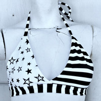 Black Flag pin up halter bikini top swim bra black and white stripe Star
