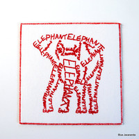 Elephant Screen Print Word Art Card Red on White by BlueJacaranda