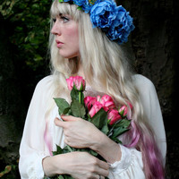 Blue peony wedding flower crown, summer hairband, statement headpiece, flower hairband