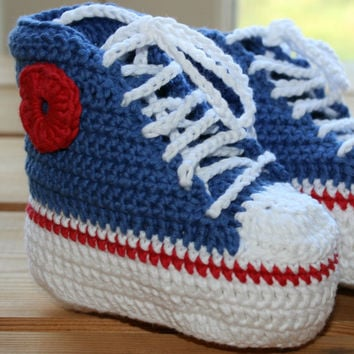 Organic, cotton, crochet, baby, converse, booties, high tops, boots, shoes, blue, white, red, 4th July, Independence Day, Eco friendly 6-12M