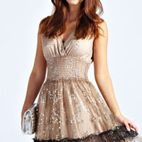 Macie Metallic Flower Lace Prom Dress