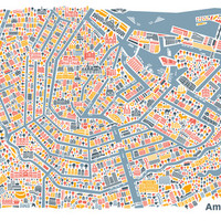 Amsterdam City Map Poster Art Print by Vianina