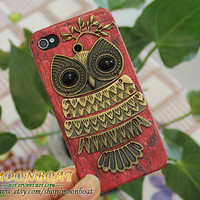 Brass Cute OwlBranch And Red Cell Phone Hard Case by moonboat