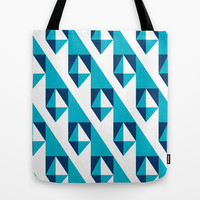 Geometric Pattern 2-Blue Tote Bag by mollykd