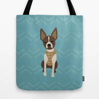 Boston terrier chihuahua mix dog (Bochi) - Green Tote Bag by mollykd