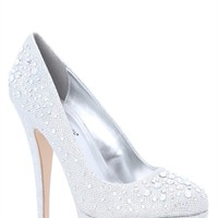 Glitter Pumps with Scattered Stone Accents
