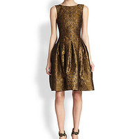 Pleated Lamé Jacquard Dress