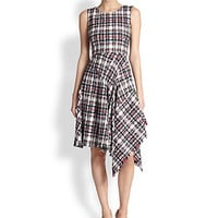 Asymmetrical Flamingo Plaid Tweed Dress