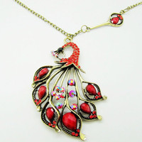 ancient vintage style red peacock pendant women or by braceletcool