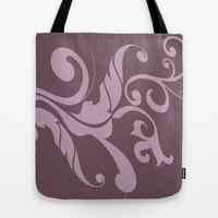 Floral Swirl Dusty Plum and Light Violet Tote Bag by EML - CircusValley