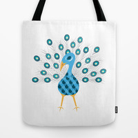 Geometric Peacock Tote Bag by mollykd