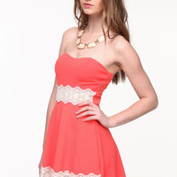 Crochet Panel Strapless Dress - LoveCulture