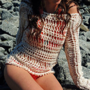 Boho Chic Summer Sweater, Long Sleeved Open Weave Cotton Beach Cover Up, Swimsuit cover, lightweight sweater, Beach wear, Cotton Beach top