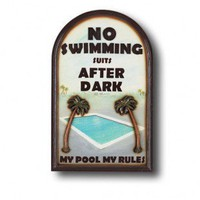 "RAM Gameroom ""No Swimming Suits"" Outdoor Sign - ODR639 - All Wall Art - Wall Art & Coverings - Decor"