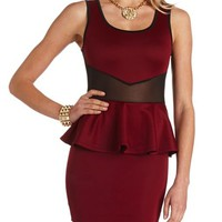 MESH CUT-OUT PEPLUM DRESS