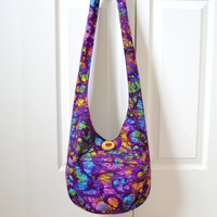 Hobo Bag, Batik, Sling Bag, Floral, Purple, Swirls, Rainbow, Hippie Purse, Crossbody Bag