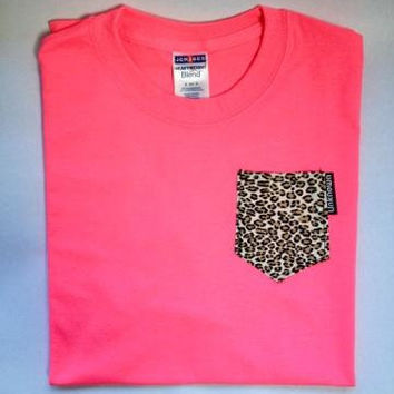 Custom Pocket T-Shirt - Cheetah Print on Pink