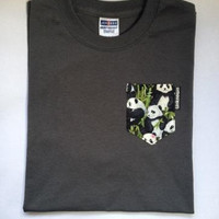 Custom Pocket T-Shirt - Pandas on Charcoal Grey