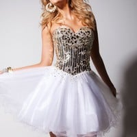 Sequined Illusion Mini Dress by Tony Bowls Shorts