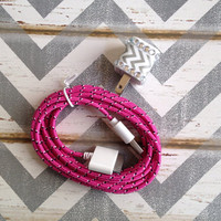 New Super Cute Jeweled Grey & White Chevron USB Wall Connector + 10ft Hot Pink Braided iPhone 4/4g/4s Cable Cord