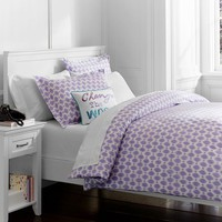 Ikat Dot Organic Duvet Cover + Pillowcases, Lavender