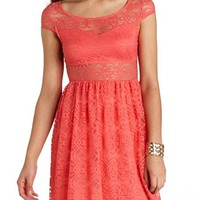 FILIGREE LACE CUT-OUT SKATER DRESS