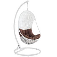 LexMod The Bestow Rattan Outdoor Wicker Patio Swing Chair Set