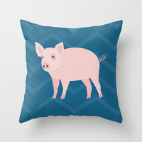 Geometric Pig Throw Pillow by mollykd