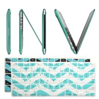 "INV ® Macbook Extra Slim Hard Case - Crystal for New Apple Macbook Pro 13.3 Inch 13"" (A1425 or A1502) with Retina Display Plus 2 Pcs Matching Color Chevron Zig-Zag Keyboard Cover Skin (New Macbook Pro 13"" A1425 / A1502, TURQUOISE)"