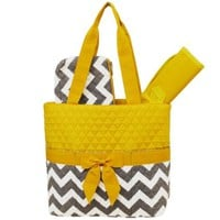 Grey & White Chevron Print 3pc. Diaper Bag