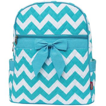 White & Light Aqua Chevron Print Quilted Backpack-l/aqua