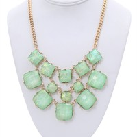 Short Statement Necklace with Opalescent Stones