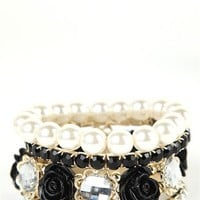 4 Row Stretch Bracelet with Flowers