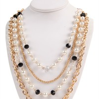Layered Necklace with Pearls, Beads and Chain