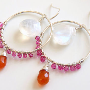 Bright beautiful earrings - rainbow moonstone, carnelian, hot pink quartz and sterling silver. artisan earrings handmade - gemstone hoops