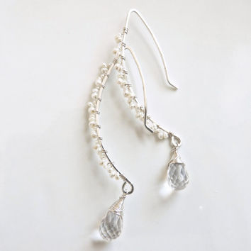 Wedding earrings - pearl and quartz jewelry - sterling silver earrings - long dangles - elegant drop earrings - earrings handmade graceful