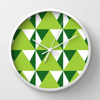 Geometric Pattern 3-Green Wall Clock by mollykd