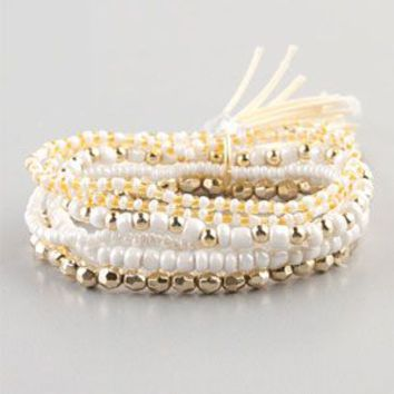 FULL TILT 6 Row Bead and Tassel Bracelet