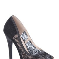Peep Toe Lace pump with Fabric Glitter Trim