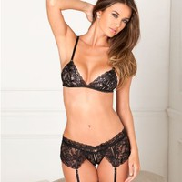 Rene Rofe Lace Garter Set LingerieSet 532049 at BareNecessities.com