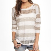 STRIPED CUT-OUT TUNIC SWEATER