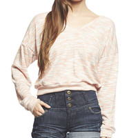 Space Dye V-Neck Sweater | Wet Seal