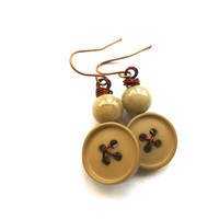 Button Jewelry - Dangle Earrings in Neutral Nude Taupe Tan Color