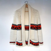 70s sweater coat. ethnic cardigan sweater with pockets
