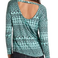 PRINTED DOUBLE SCOOP LONG SLEEVE TOP