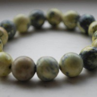 Tibetan Yellow Leopard Jasper Mala Bracelet 10mm beads | shangrilacraft - Jewelry on ArtFire