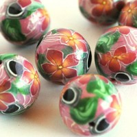 Beads Polymer Clay Pink Orange Flower White Stripe Black Dot Handmade | bluemorningexpressions - Jewelry Supplies on ArtFire