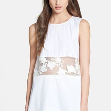 1.STATE Sheer Inset Cotton Top | Nordstrom