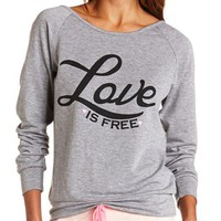 LOVE IS FREE CROCHET BACK GRAPHIC SWEATSHIRT
