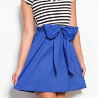 Harper Striped Dress with sleeves -Royal Blue